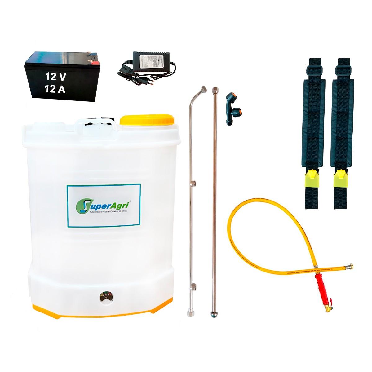 Pulverizador Costal Elétrico 20 Litros 100 PSI Bateria 12V 12A C/ Mangueira de Alta Pressão e Bico Duplo