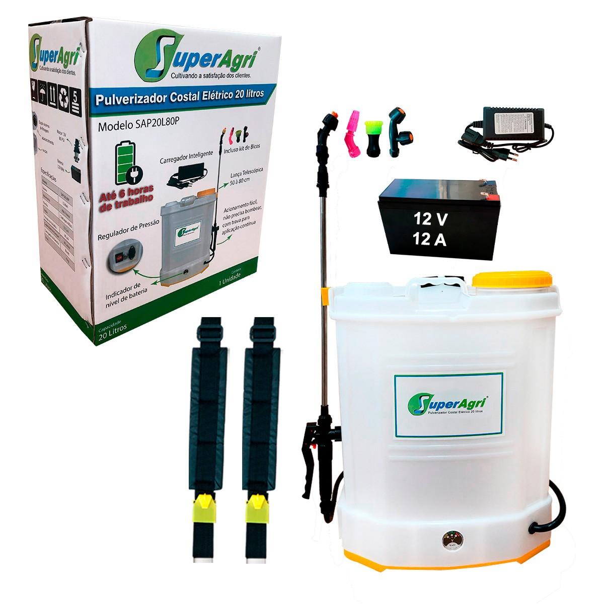 Pulverizador Costal Elétrico 20 Litros 80 PSI Bateria 12V 12Ah
