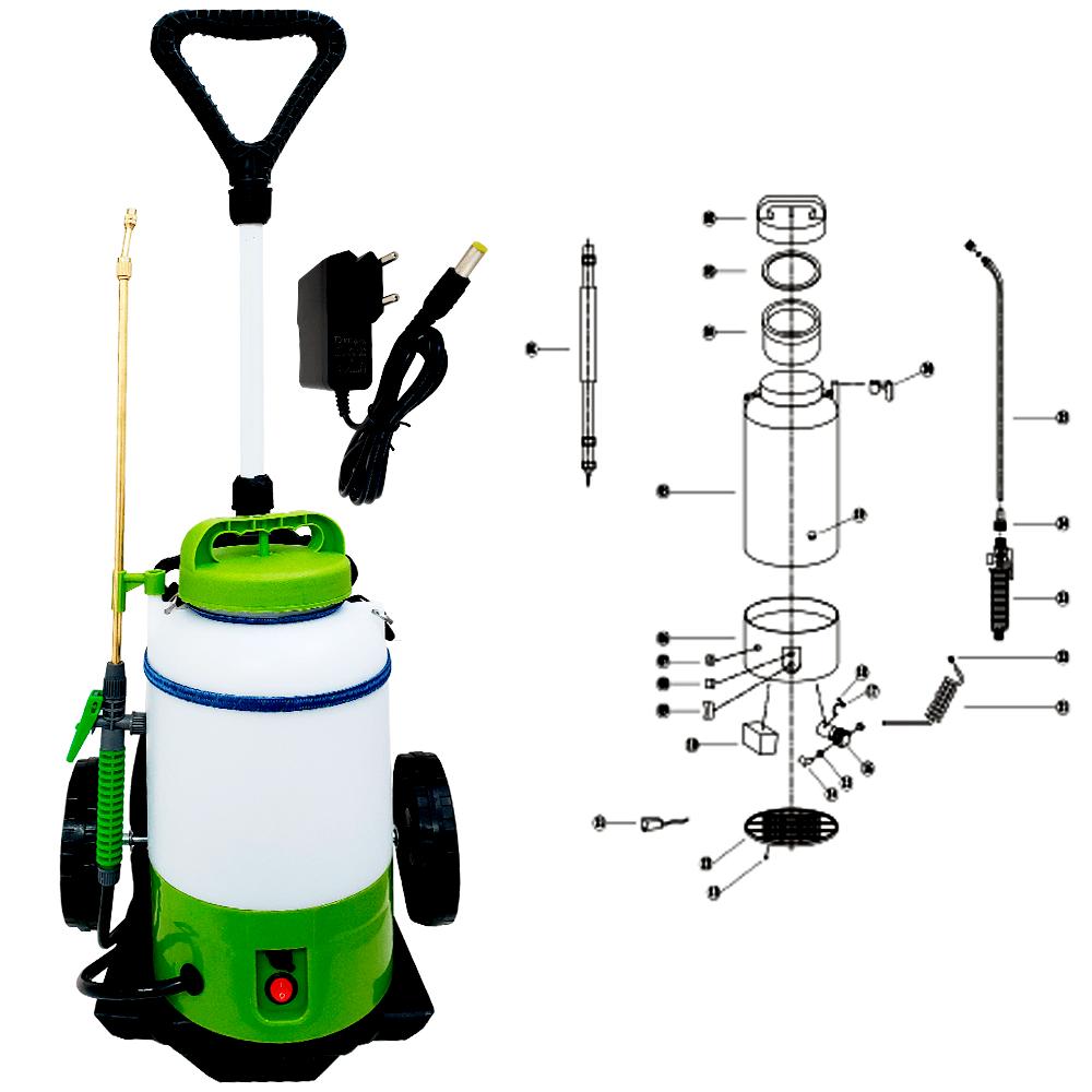 Pulverizador Elétrico 5 Litros SuperAgri + Carrinho Com Rodas