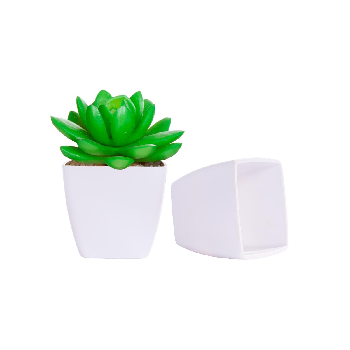 Vaso Decorativo Melamina Quadrado Branco 9,5x9,5x8,5cm