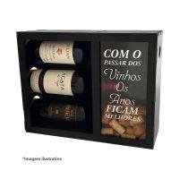 Mini Adega para 3 Vinhos com Porta Rolhas