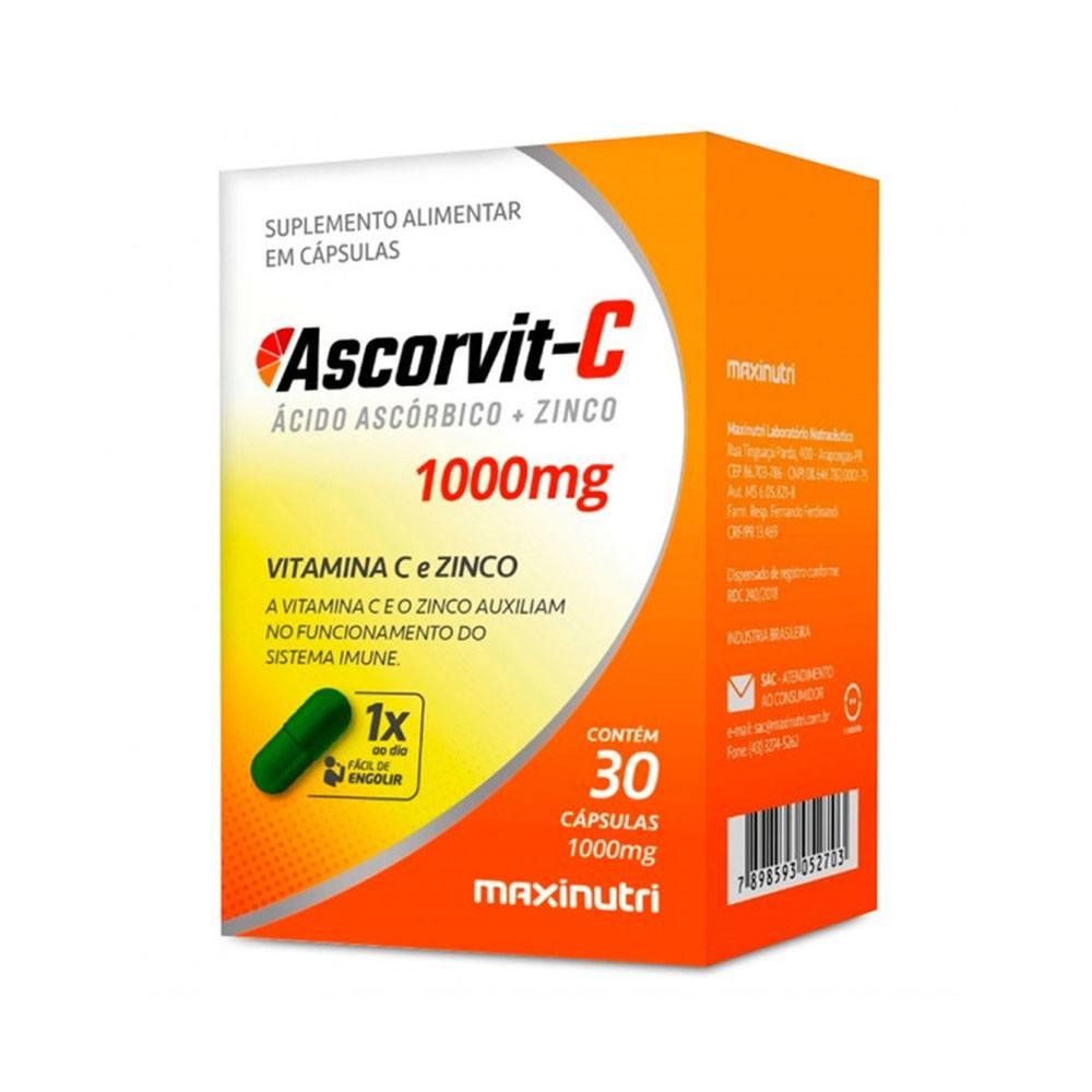 Ascorvit-C e Zinco 1000mg 30 cápsulas Maxinutri