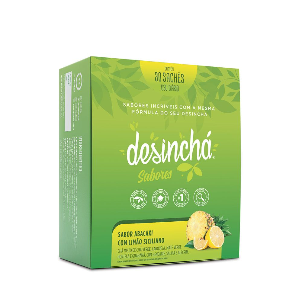 Caixa Desinchá Sabor Abacaxi e Limão Siciliano com 30 unidades
