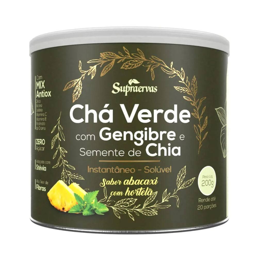 Chá Verde com Gengibre e Semente de Chia 200gr sabor Abacaxi com Hortela Supraervas