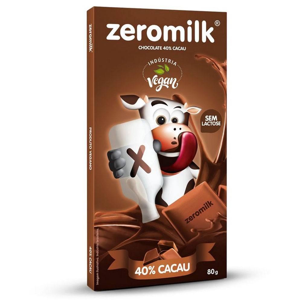 Chocolate Zero Leite 40% Cacau Zeromilk 80gr