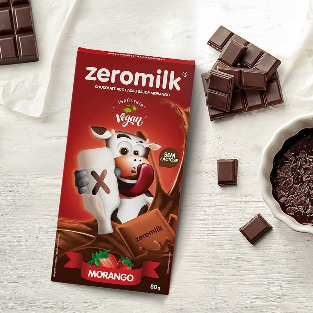 Chocolate Zero Leite Morango 80gr ZeroMilk