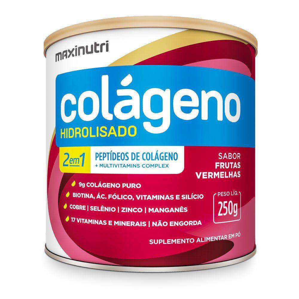 Colágeno Hidrolisado 2 em 1 Frutas Vermelhas 250gr Maxinutri