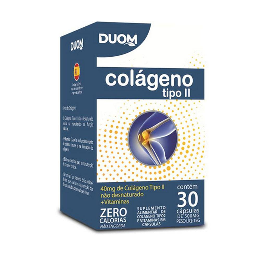 Colágeno tipo 2 Com Vitaminas 30 Cápsulas 500mg Duom