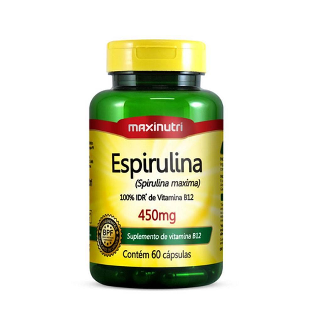 Espirulina 100% IDR de Vitaminas B12 450mg 60 Cápsulas Maxinutri