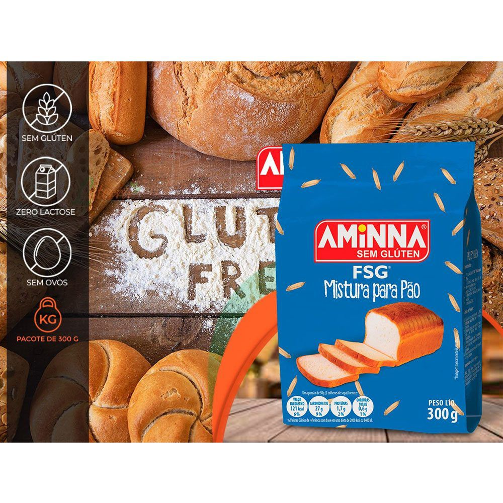 Mistura para Pão FSG sem Glúten 300gr Aminna