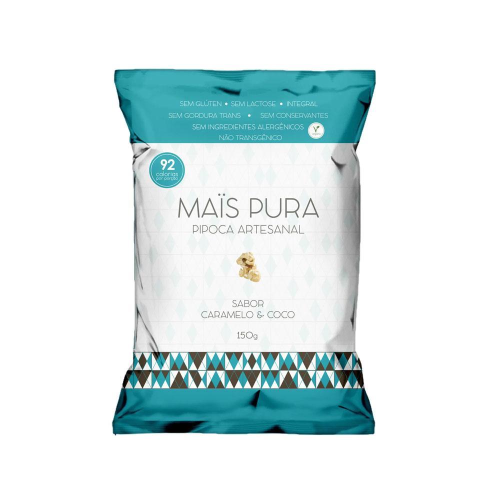 Pipoca Artesanal sabor Caramelo e Coco 150gr Mais Pura