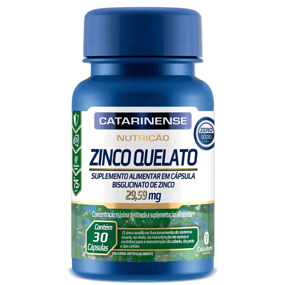 Zinco Quelato (Bisglicinato de Zinco) 29,59mg 30 cápsulas Catarinense