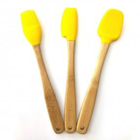 Kit c/3 Utensílios em Bambu e Silicone Pequenos Amarelo - Yoi