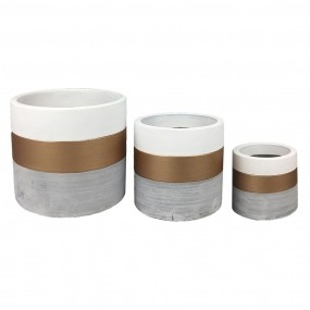 Kit c/3 Vasos em Concreto e Branco e Dourado