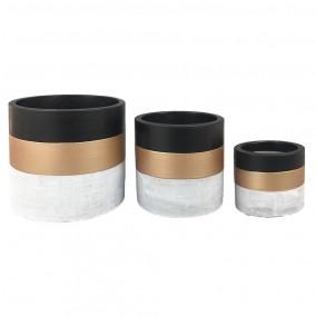 Kit c/3 Vasos em Concreto e Preto e Dourado