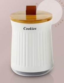 Lata Porta Mantimentos Cristal Tampa Bambu Cookies - YOI