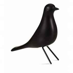 Pássaro em Cerâmica Preto Pé em Metal 15x5x14,5 cm