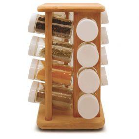 Porta Temperos em Bambu com Base Giratória 17 Peças Tyft - Yoi