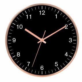 Relógio de Parede Preto e Cobre