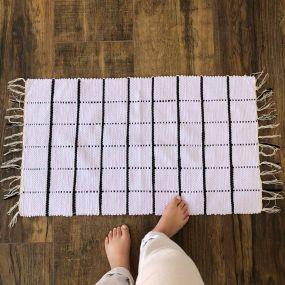 Capacho Tapete Grid Preto Branco 0,80 x 0,50 cm