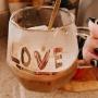 Caneca com Colher Love Dourado