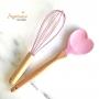 Colher de Coração Bambu e Silicone Rosa