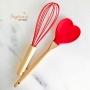 Colher de Coração Bambu e Silicone Vermelho