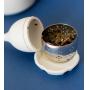 Infusor de Chá Silicone Folha Branco Ponta Inox com Suporte
