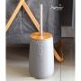 Kit Banheiro em Cerâmica 5 peças Cinza e Bambu