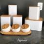 Lata Cake Relevo Branca Tampa em Bambu