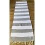 Passadeira Artesanal Listra Cinza e Branco Tapete 1,55 x 0,50 cm