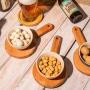 Petisqueira com Suporte de Madeira e Bowl Cinza em Cerâmica