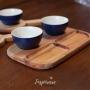 Petisqueira em Madeira e Cerâmica Azul Marinho