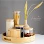 Pote de Vidro 1000ml com Tampa de Bambu Hermético Yoi