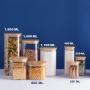 Pote de Vidro Quadrado com Tampa Flat Bambu 400 ml