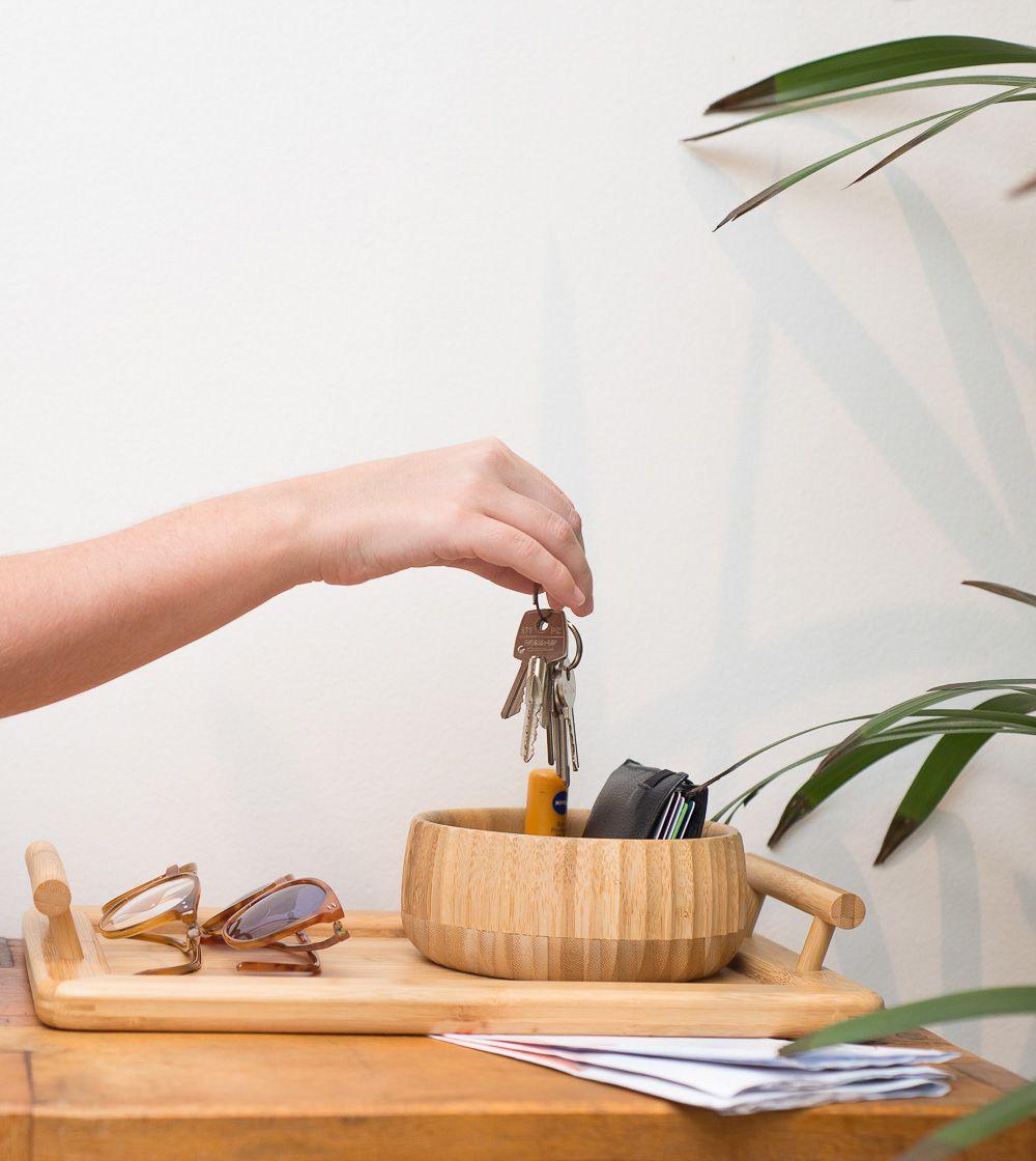 Bandeja Retangular com Alça em Bambu