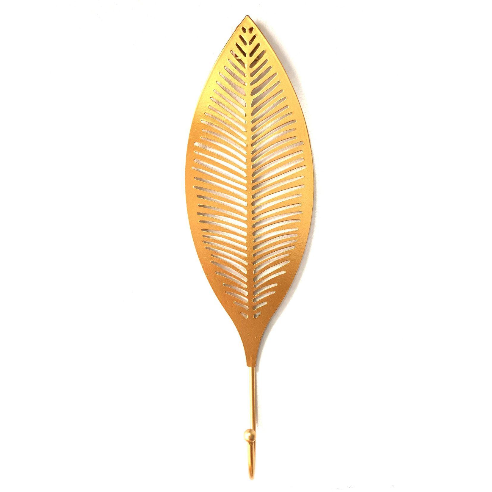 Cabideiro em Metal Dourado Folha Bananeira