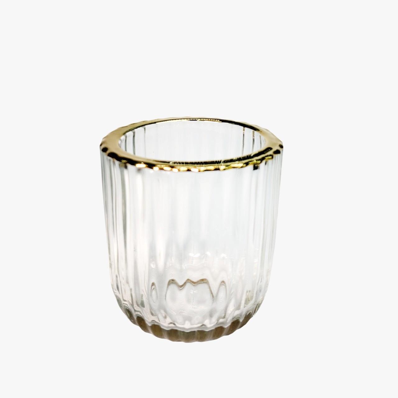 Castiçal de Vidro incolor e Dourado