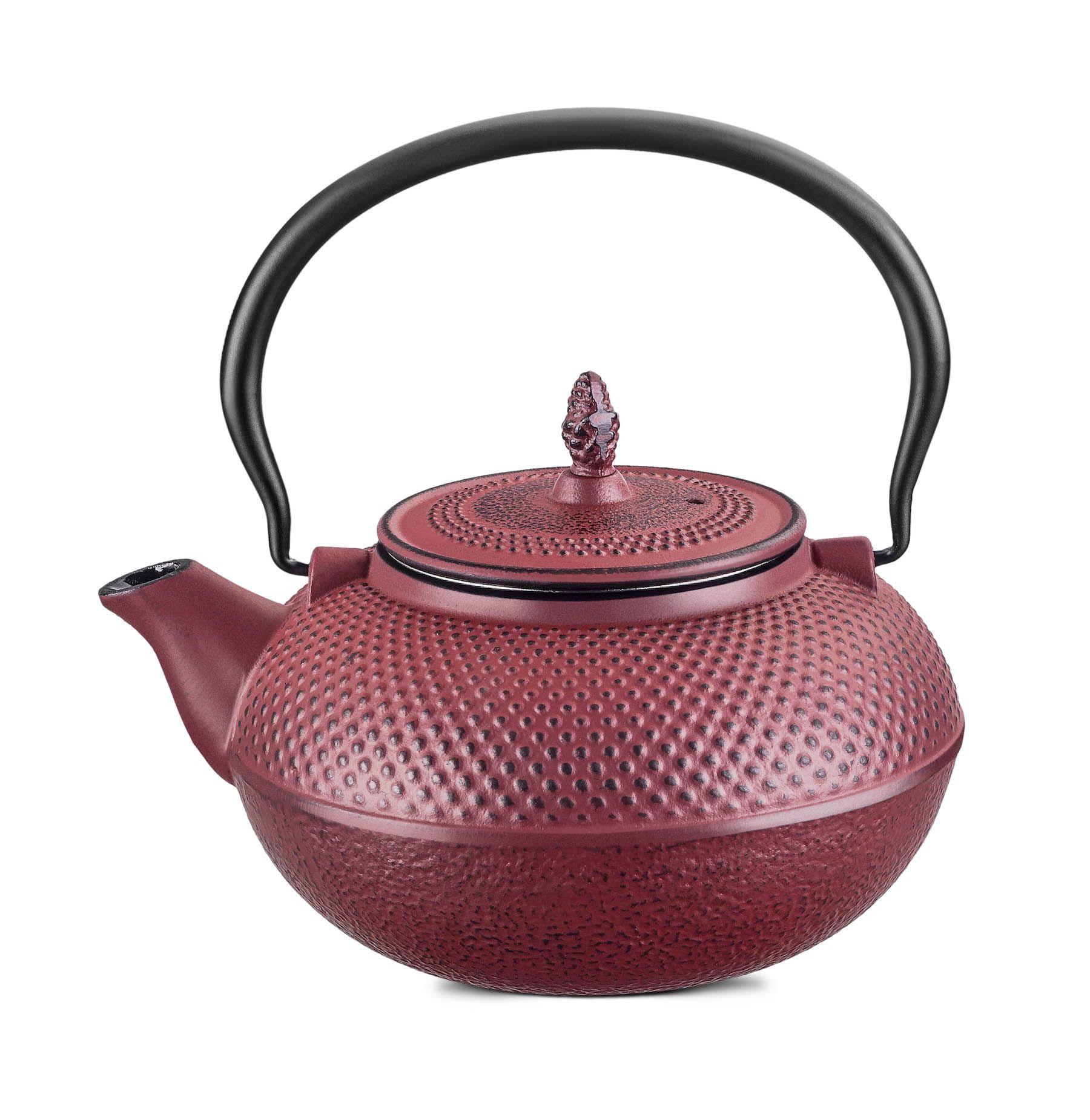 Chaleira Ferro Fundido c/ Infusor de Chá Vermelha