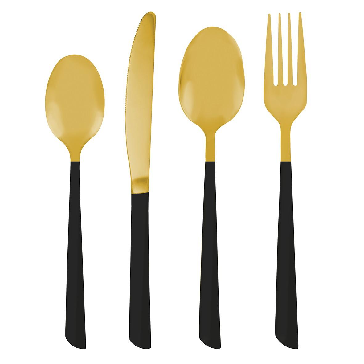 Faqueiro Inox Dourado e Preto 24 peças - Jolitex