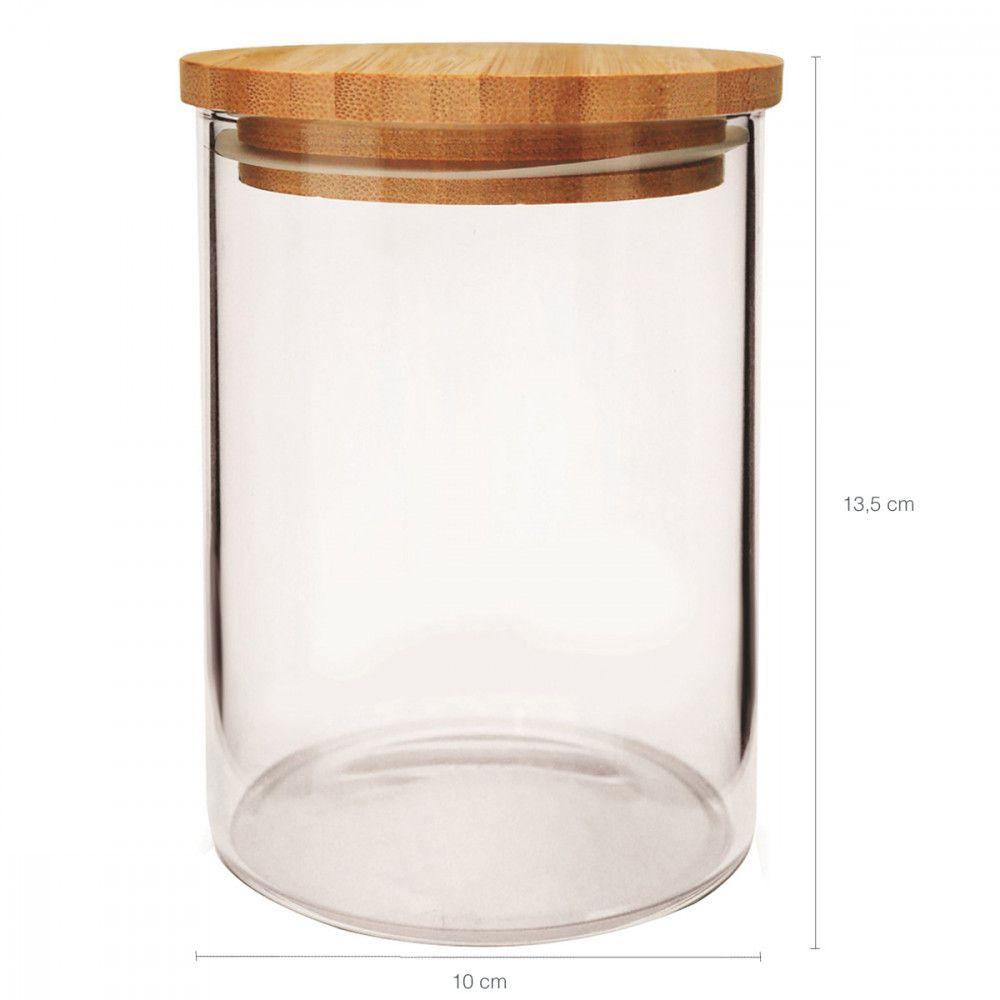 Jogo c/2 Pote em Vidro Tampa em Bambu Yoi (1000/700 ml)