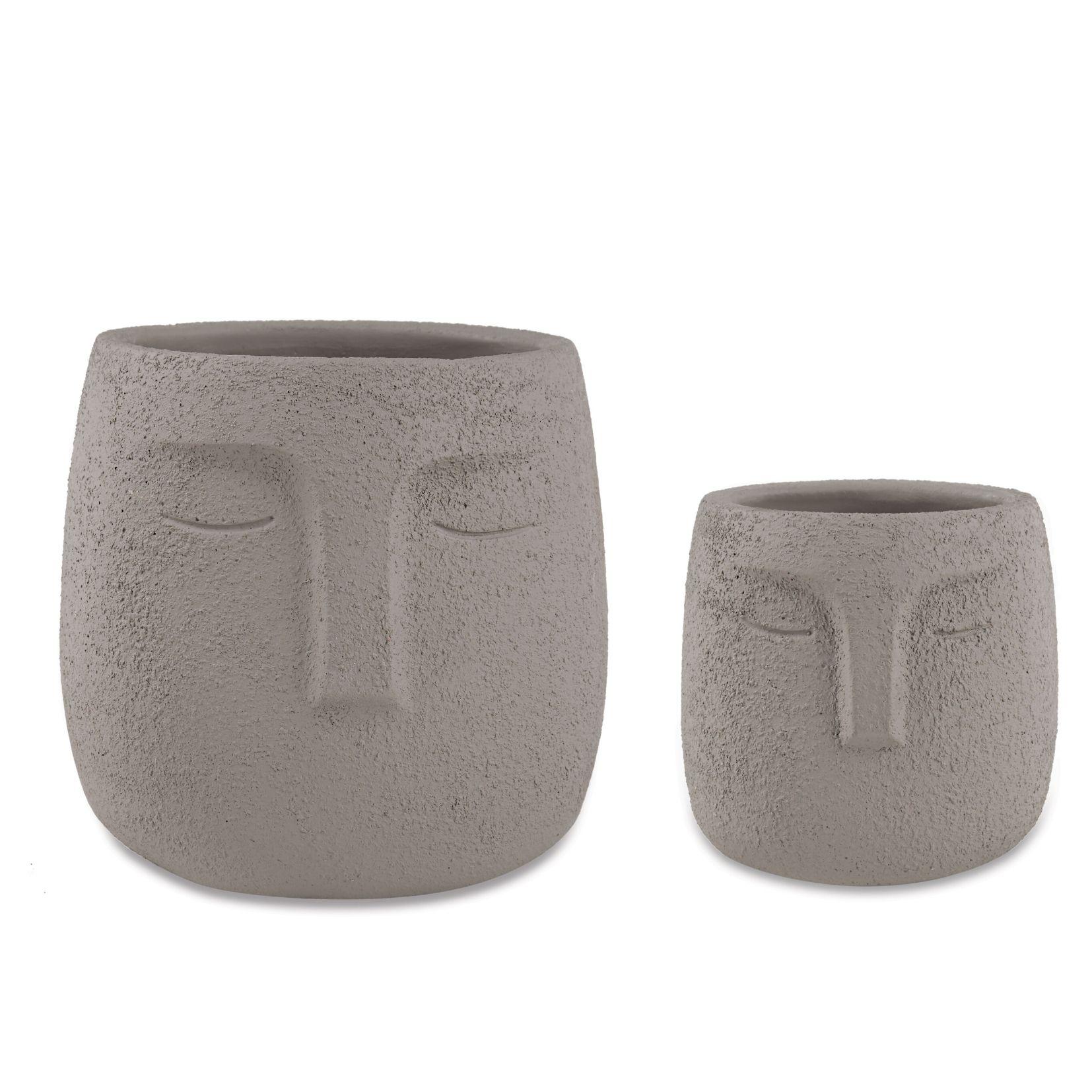 Jogo c/2 Vasos Cachepot em Cimento Cinza