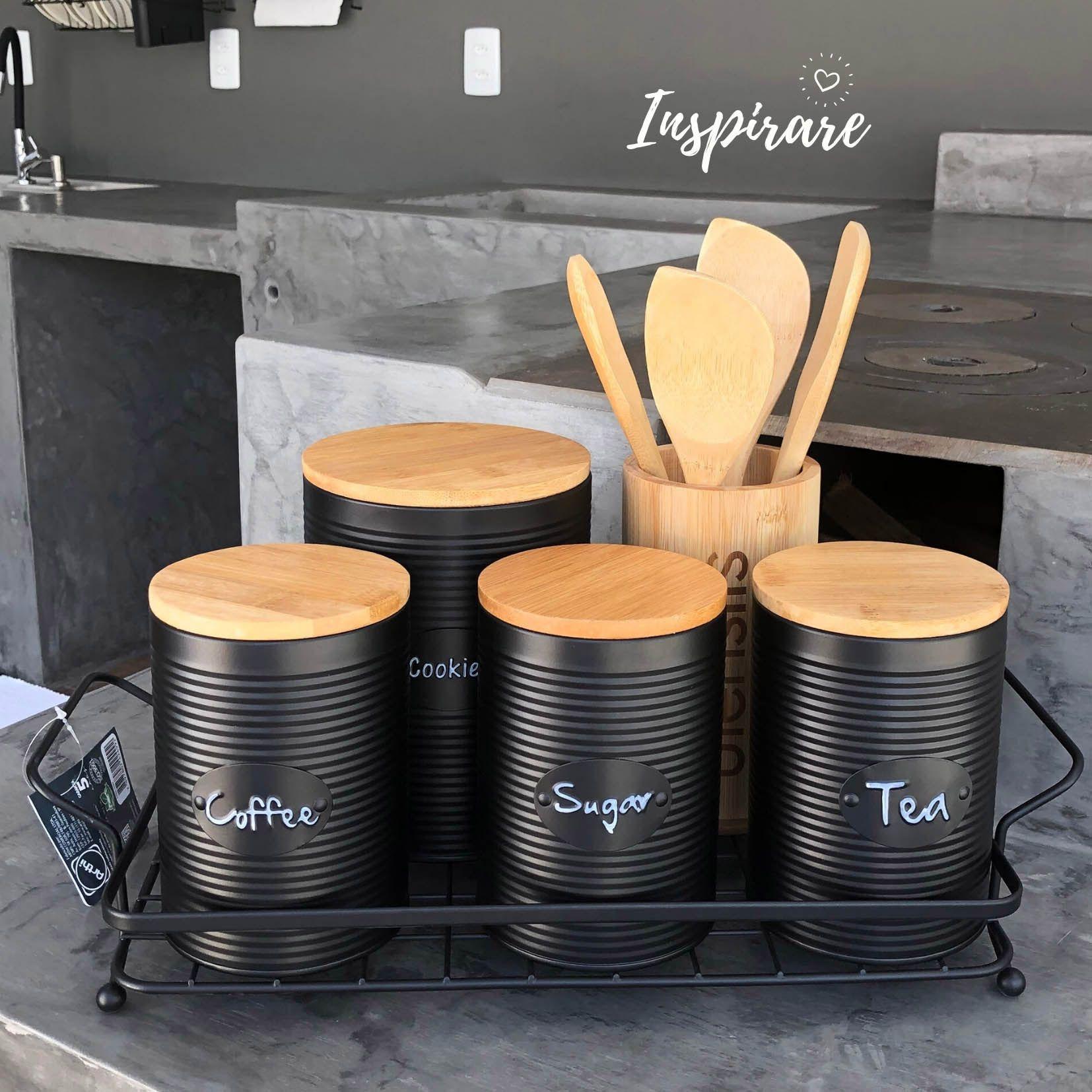 Jogo c/3 Latas Preta com Tampa de Bambu