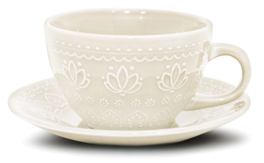 Jogo c/4 Xícaras e Pires de Chá 300 ml Corona Branco Off