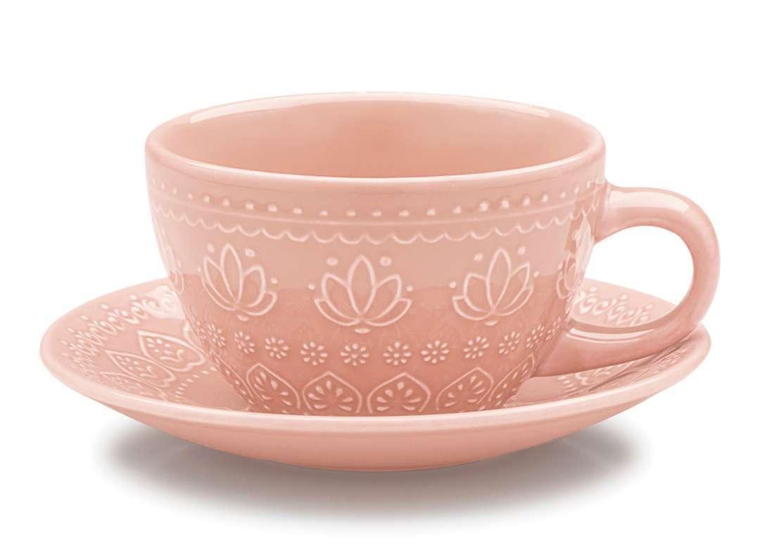 Jogo c/4 Xícaras e Pires de Chá 300 ml Corona Rosa