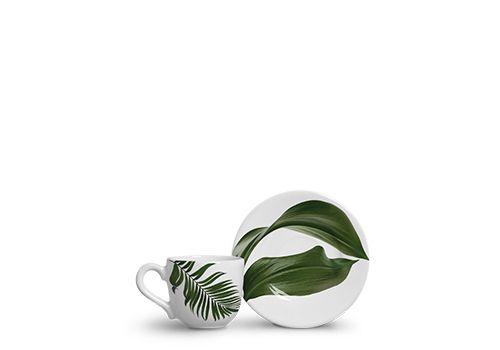 Jogo c/6 Xícaras de Cafezinho Folha  em Cerâmica - Scalla