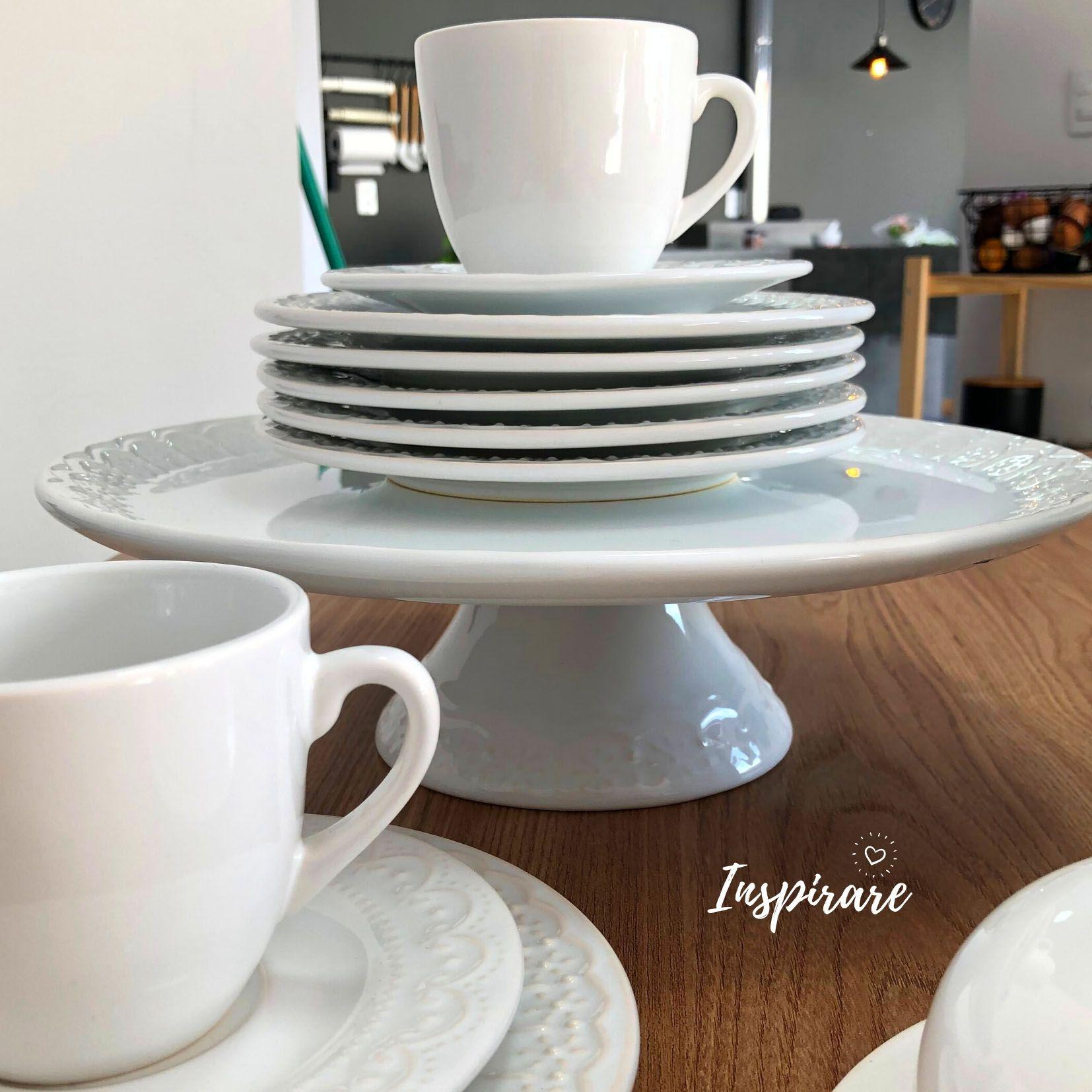 Jogo c/6 Xícaras de Chá em Cerâmica Branca Nobre - Scalla