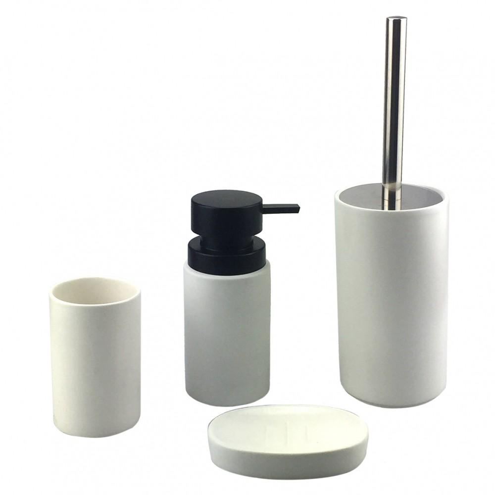 Kit Banheiro 4 peças Branco E Preto