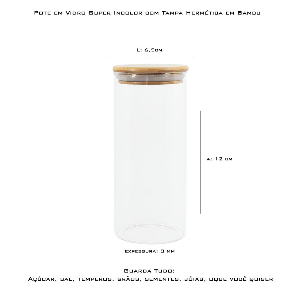 Kit c/3 Potes Herméticos em Vidro Tampa de Bambu 300 ml