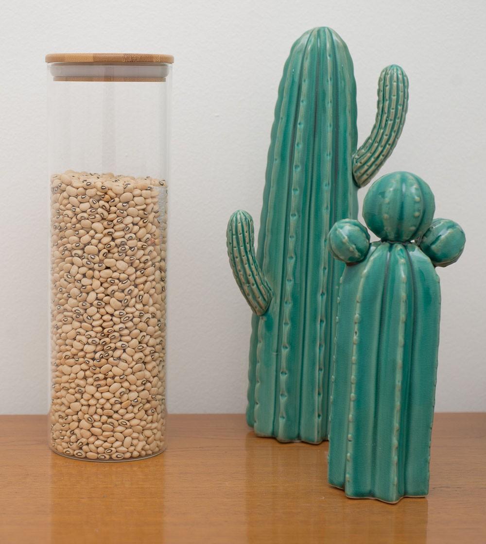 Kit c/3 Potes Herméticos em Vidro Tampa de Bambu 450 ml